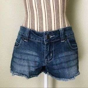 Red Rivet Frayed Jean Shorts